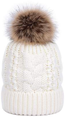 0801ada8be1 LOKTARC Women s Winter Cable Knit Faux Fur Pom Pom Fleece Lined Beanie Hat
