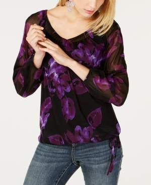 INC International Concepts I.n.c. Printed Mesh Tie-Hem Top, Created for Macy's