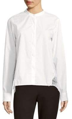 Donna Karan Lace Paneled Button-Down Blouse