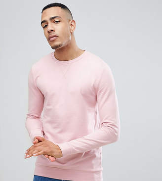 Asos Design Tall Muscle Sweatshirt In Light Pink