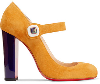 Christian Louboutin - Bibaba Suede Mary Jane Pumps - Saffron $795 thestylecure.com