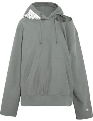 Vetements - + Champion Cutout Cotton-blend Jersey Hooded Top - Gray $765 thestylecure.com