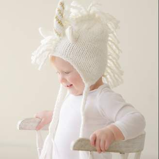 BLUEBERRY HILL - Ella Unicorn Knit Hat - Gold Stripe