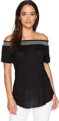 NY Collection Women's SLD Short SLV Off The Shoulder Top