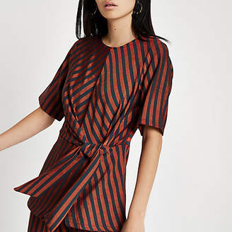 River Island Womens Brown stripe twist front top