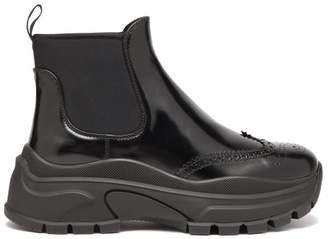 Prada Chunky Sole Patent Leather Ankle Boots - Womens - Black
