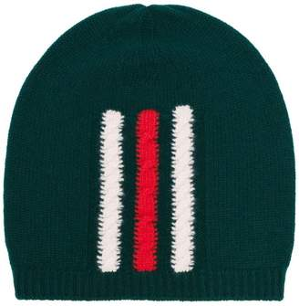 Gucci green web knitted wool beanie hat