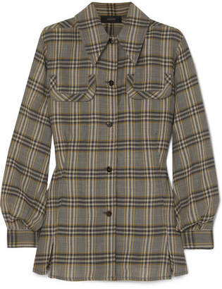 Joseph Asher Checked Wool-flannel Shirt - Gray