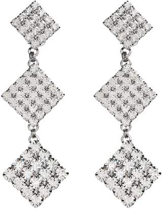 Alessandra Rich Square Crystal Three Tier Drop Earrings