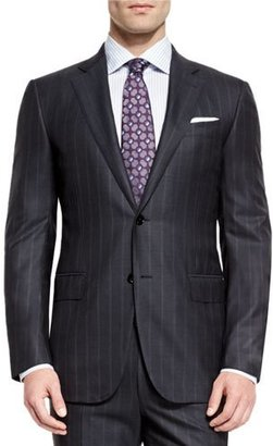 Ermenegildo Zegna Milano Wool Twin-Stripe Two-Piece Suit, Charcoal $3,595 thestylecure.com
