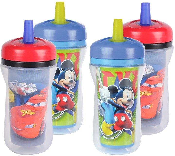 The First Years Insulated Straw Cup - Mickey & Cars - 9 oz - 4 ct