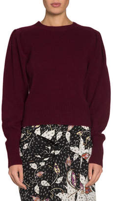 Isabel Marant Colroy Crewneck Puff-Shoulder Long-Sleeve Cashmere Sweater