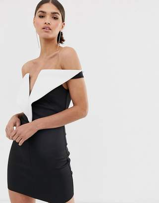Asos Design DESIGN V front mini mono detail mini dress