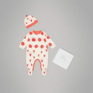 Burberry Spot and Heart Print Cotton Two-piece Baby Gift Set