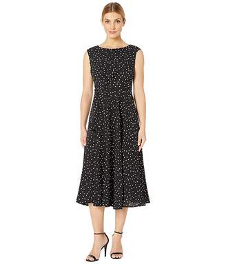Tahari ASL Polka Dot Side Wrap Midi Dress