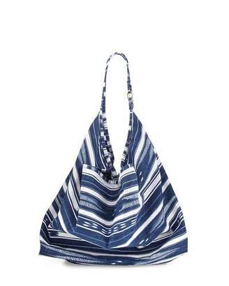 La Blanca Striped Canvas Beach Tote Bag, Designer Jeans Blue $89 thestylecure.com