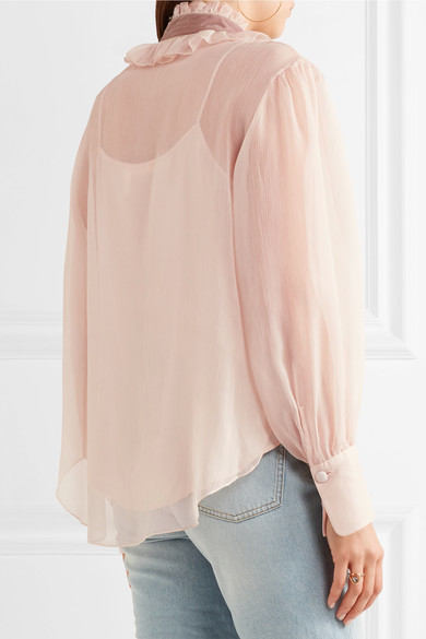See by Chloé - Velvet-trimmed Pussy-bow Ruffled Crepon Blouse - Blush 3