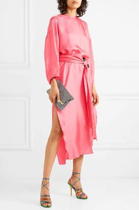 Topkapi Nackiyé Belted Silk-twill Midi Dress - Pink