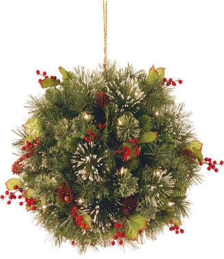 """National Tree 16"""" Wintry Pine(R) Kissing Ball with Battery Operated Warm White Led Lights"""