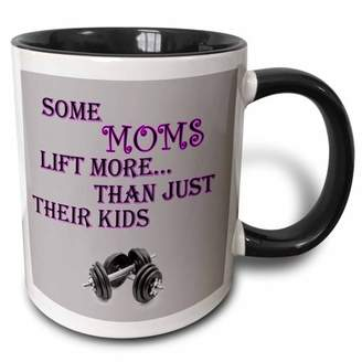 Sexy Sport 3dRose Some moms lift more than just their kids. Gym, sexy, sport. Saying, Two Tone Black Mug, 11oz