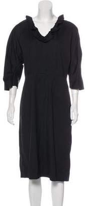 Prada Long Sleeve Midi Dress