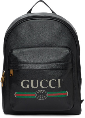 Gucci Black Print Backpack