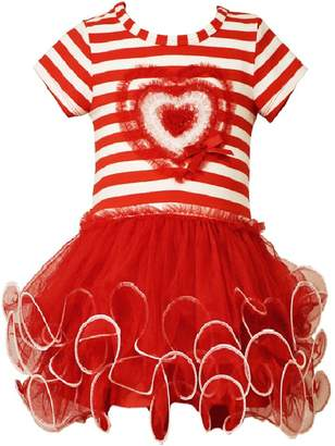 Bonnie Jean Little Girls Stripe Heart Tutu Valentine Day Dress