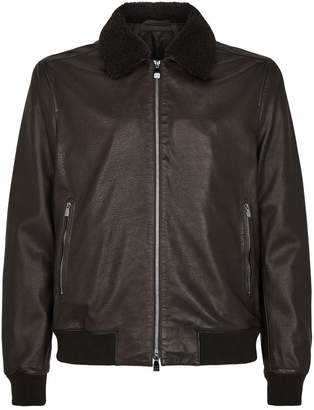 Corneliani Leather Aviator Jacket