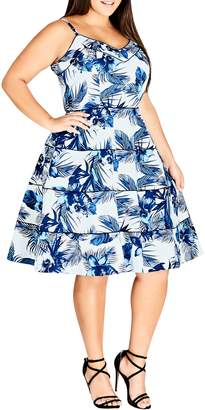 City Chic Blue Hawaii Fit & Flare Dress