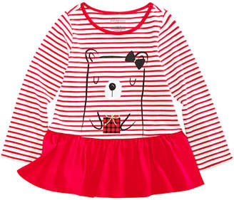 First Impressions Toddler Girls Striped Bear-Print Cotton Peplum T-Shirt