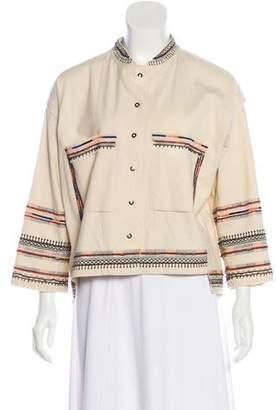 Velvet Three-Quarter-Sleeve Cropped Embellished Jacket