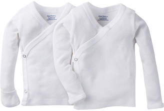Gerber 2 Pack Long SLeeve White Side Snap Shirt with Mitten Cuff