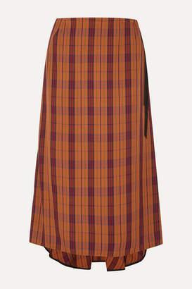 McQ Fluted Velvet-trimmed Checked Woven Skirt - Orange