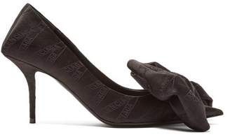 Balenciaga Logo Jacquard Bow Embellished Satin Pumps - Womens - Black