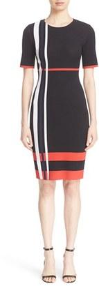 Women's St. John Collection Stripe Sculpture Jacquard Knit Dress $995 thestylecure.com