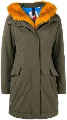 Rossignol orange faux fur trim coat
