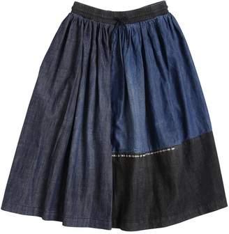 Diesel Patchwork Light Cotton Denim Midi Skirt