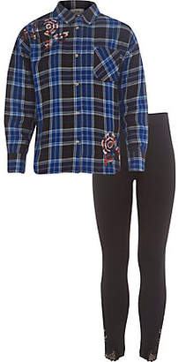 River Island Girls blue check embellished shirt outfit