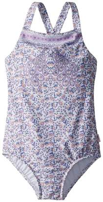 Seafolly Peacock Paisley Ruffle Tank One-Piece Girl's Swimsuits One Piece