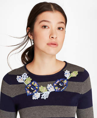 Brooks Brothers Floral-Embroidered Striped Silk-Cashmere Sweater