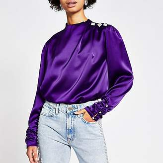 River Island Purple long ruched sleeve diamante top