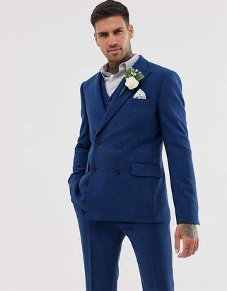 Design DESIGN wedding skinny double breasted suit jacket in blue wool mix twill