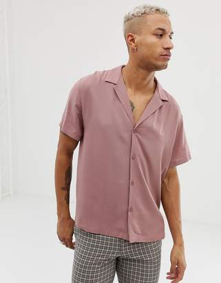 Asos Design DESGN relaxed deep revere viscose shirt in dusty pink