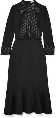 Erdem Hilma Pussy-bow Polka-dot Tulle-trimmed Ponte Dress - Black