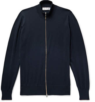 Brunello Cucinelli Slim-Fit Contrast-Tipped Cotton Zip-Up Cardigan