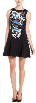 Tibi Baja Black Multicolor Embroidered Dress