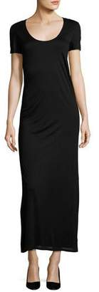 The Row Melen Viscose Jersey Short-Sleeve Maxi Dress, Black