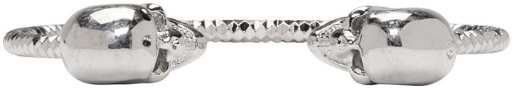 Alexander McQueenAlexander McQueen Silver Twin Skull Bracelet