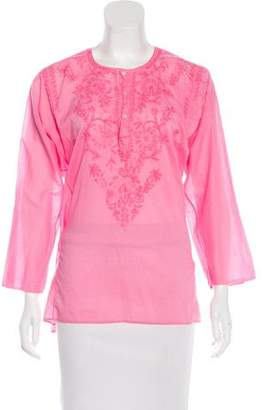 Calypso Embroidered Button-Up Top w/ Tags
