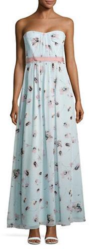 BCBGMAXAZRIABcbgmaxazria Floral Strapless Dress
